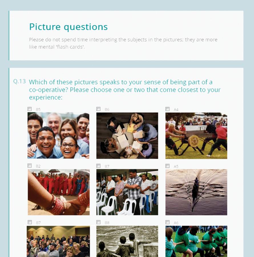 Algunas de las preguntas de la encuesta sobre sentimientos asociados al cooperativismo.